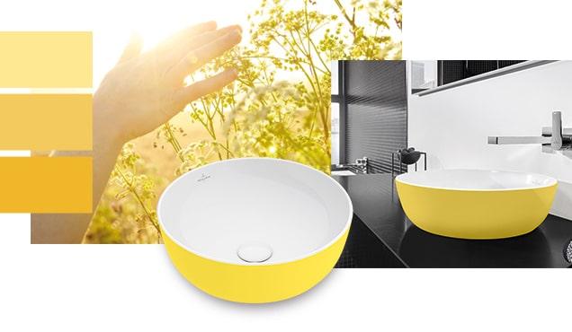 Waschbecken in gelber Farbe sorgen für Frische im Bad.