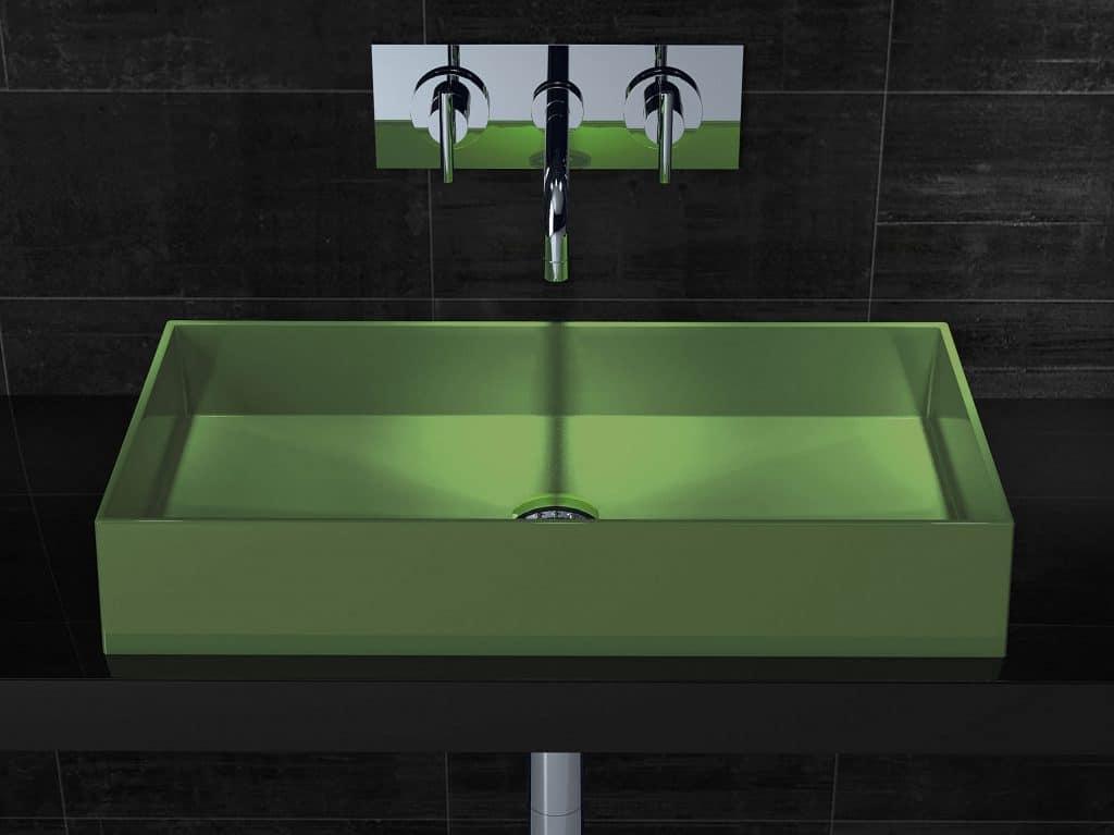 Waschbecken in bunten Farben: Grün wirkt harmonisierend.